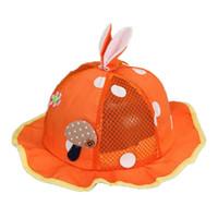 Wholesale Red Mesh Baby Hats - Wholesale 5 pcs Baby Girls Mesh Patchwork Sun Hats Kid Child Mushroom Design Big Polka Dot Rabbit Ear Summer Sun Protective Hat MZ4821