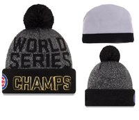 Wholesale Cheap Soccer Knits - Cubs World Series Champions Beanies New Arrival Cubs Beanie Hats Hottest Knitted Hat Cap with Pompom High Quality Skull Caps for Cheap