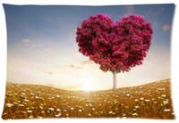Wholesale Field Cases - 2pcs Custom Love Heart Tree Fields Pattern Zippered Cotton Polyester Pillow Case 20x30 (Twin sides)