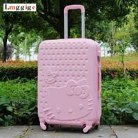 "Wholesale Children Wheel Suitcase - 20""22""24""26""28"" inch Hello Kitty Luggage,Spinner wheel ABS Suitcase Trolley,Women and children KT cat Travel Case,password box"