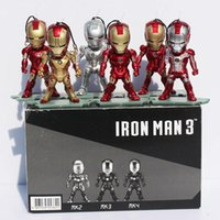 Wholesale Super Heros Action Figures Set - Super Heros Mini Egg Attack Iron Man PVC Action Figure Toy With Light Collection Doll 6pcs set Free shipping
