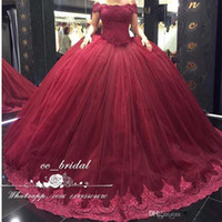 Wholesale 15 Dresses Champagne - Burgundy Off the Shoulder Quinceanera Dresses 2017 With Appliques Lace Sweet 16 Dress Plus Size Masquerade Ball Gowns Vestidos de 15 anos