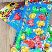 Wholesale Magnetic Toy Fishing Rods - Wholesale-1 set Learning & education magnetic fishing Playsets toy 12 Plastic Fish and 1 Rod baby Bath Time game gift toy funny gadgets