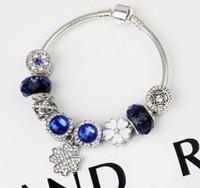 bracelets de diamant bleu achat en gros de-Nouveau rêve de bracelet de trèfle de perles de cristal bleu avec des bijoux exquis de diamant simple et élégant cadeau