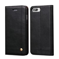 Wholesale Purse Magnetic Closure - Vintage Leather Wallet Case For iPhone 7 7 Plus Cover Magnetic Closure Luxury Flip Pouch Card Holder Slot Purse With Kick Stand