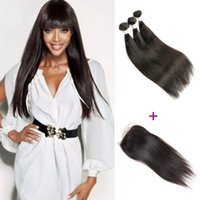Barato Trama De Tecido De Cabelo Indiano-Brazilian Straight Hair 3 Bundles with Lace Closure Free Three Part Natural Brown Peruvian Indian Malaysian Virgin Human Hair Weave