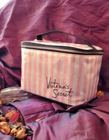 Wholesale Cosmetics For Body - landy house High quality women for victoria's waterproof cosmetic bag female Pink and white striped bag lady fashion makeup bag