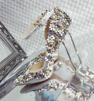 Wholesale Sliver High Heels - Applique Special Wedding Shoes Pointed-Toe Stiletto Heel Rhinestone Fashion Vintage Sexy Floral Sliver Beautiful Bridal Shoes