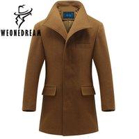 Wholesale Long Wool Coat Slim Camel - Wholesale- 2017 New Arrival Man Woolen Long Trench Coat Man Winter Warm Slim Jackets Outerwear Men Camel Navy Blue Mandarin Collar Blazer