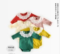Wholesale Lace Collar Wholesale - INS new arrivals fall baby kids candy color climbing romper lace pet pan collar long sleeve girl kids romper baby fall rompers 0-2T