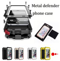 Wholesale Waterproof Metal Case Hard Aluminum Dirt Shock Proof Mobile Cell Phone Cases Cover for iphone plus samsung s8 s8 plus with retail pack