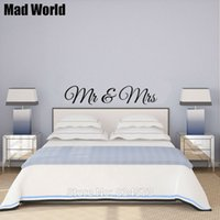 Wholesale Decal Married - Home Decor Stickers Mad World-MR AND MRS Married Husband Wife Wall Art Stickers Wall Decal Home DIY Decoration Removable Bedroom Decor