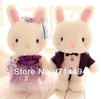 Wholesale Stuff Wedding Couple - Wholesale- 2pcs lot 30cm Blue and white Bunny Baby Doll Couple Rabbit Plush Toy Stuffed Doll Wedding gifts free shipping