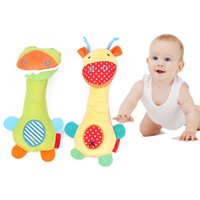 Wholesale Girl Crocodile Toy - Wholesale- Baby Infant Rattles Toy Crocodile Giraffe model plush toy baby boys girls Educational BB rattles Hanging Safety Plush brinquedos