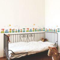 Wholesale kindergarten wall art - DIY Cartoon Animal Train Wall Stickers for Kids Room Wall Art Decals Nursery Kindergarten Room Decor Babys Gift
