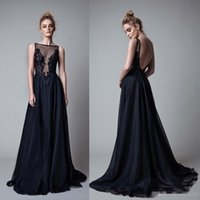Wholesale Long Black Backless Chiffon Dress - Sexy Backless Black Chiffon Formal Evening Dresses Sheer Neck Lace Appliques Floor Long 2017 Berta Cheap Prom Special Occasion Gowns Custom