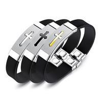 Wholesale stainless cross cuffs for sale - Group buy Cross Scorpion Great Wall Pattern Women Men Wrist Bangle Unisex Stainless Steel Silica Gel Cuff Bracelet Charm Fashion Jewelry