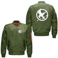 Wholesale Hunger Games Prints - New style Men's Bomber flight Spring Jacket Hunger Games print coat uniform windbreaker Driving motion windproof Outerwear baseball Jacket
