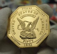 Wholesale 1 Rare Coin California Gold Rush Commemorative Coins Usa Coin Amecira Freedom Eagle Gold Plated Coin
