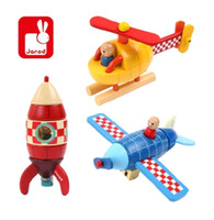Wholesale Magnetic Rocket - Wholesale- Free Shipping!Janod Rocket Helicopter Airplane Magnet Kit Wooden Toys Kids Educational Puzzle Assemble Toys Gift