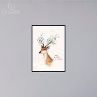 Modern Elk Oil Painting on Canvas DIY Animal Decor Coloração Digital Sika Cervo de ameixa para decoração de sala de estar