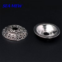 Wholesale Tibet Silver Bead Caps - 14mm Flower Bead Caps Antique Silver Plated Vintage Metal Alloy Tibet Connector Tray For Jewelry Making 50 PCS