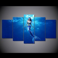Discount abstract art sea oil painting - 5 Pcs Set Framed HD Printed Deep Sea Mermaid Picture Art Print Poster Canvas Modern Oil Painting Artwork