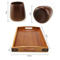 Wholesale Chinese Tea Tray Wood - Chinese Style Primitive Handmade Natural Wooden 4pcs Tea Cups And 1pc Wood Tray Serving Drinkware Kitchen Accessories ZA3346