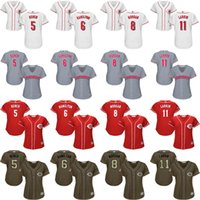 Wholesale Size 11 Women S - women 5 Johnny Bench 6 Billy Hamilton 8 Joe Morgan 11 Barry Larkin Cincinnati Reds baseball jersey stitched size s 2xl