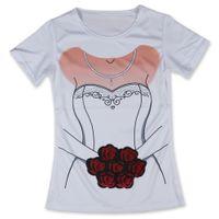 Wholesale Cheap Tshirt Dresses - Wholesale-Cheap New T Shirt Women Wedding Dress Bride Flowers Woman Tshirt Funny O Neck Tops Tees Short Sleeve Girls Clothing