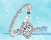 Wholesale three heart rings women - 2017 New Real 925 Sterling Silver Rings for Women Hearts and Arrows 2 Ct CZ Diamond Brand Engagement Ring