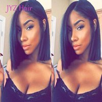 Wholesale 12 Brazilian Hair For Cheap - Cheap Glueless Bob Wigs Virgin Human Hair Lace Front Wigs For Black Women Straight Peruvian Brazilian Indian Full Lace Human Hair Wigs