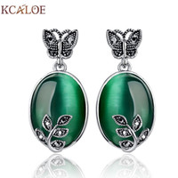 Wholesale Green Jade Butterfly Earrings - Green Agate Earrings Silver Plated Jewelry Natural Stone Jade Stud Earrings 2015 Zircon Butterfly Big Large Earrings For Women