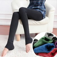 Wholesale warm thick winter tights - Women Thick Velvet Legging Winter Autumn Warm Thick High Waist Elastic Trousers Pants Slim Skinny Pants OOA3820