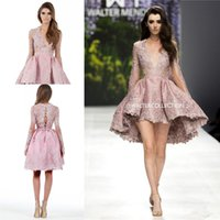 Wholesale Beaded High Low Homecoming Dress - Walter Collection Appliques Prom Gowns Plunging Neckline Long sleeves Lace Evening Homecoming Dresses High-low Lenth Prom Party Dress