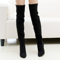Wholesale Women Sy - Wholesale- spring autumn women fashion high heels over the knee high leg boots female flock boot shoes 41 42 43 sy-394