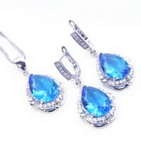 Wholesale Blue Topaz Rings For Women - Trendy 925 Sterling Silver Blue&White Topaz Jewelry Sets Sliver Earrings Pendant Necklace Rings For Women Free