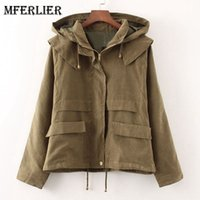 Wholesale Trenchcoat Girls - Girls Autumn Spring Trenchcoat Solid Hooded Zipper Manteau Femme Adjustable Long Sleeve Blue Army Green Trench Coat