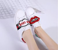 Wholesale Tiger Print Lips - best selling new Men and women Embroidery tiger red lip removable casual shoes with flat sole size 35-44