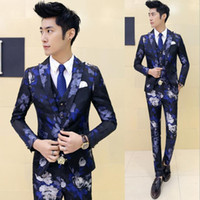 Wholesale Flower Pants Outfits - 2017 Fashion Ceket Mens Blazers Homens Flower Floral Print Royal Robe De Mariage Costume Homme Cappotto Club Outfits Prom Dresses