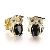 Emerald owl earings - Brincos owl stud earrings for women fashion jewelry gold plated crystal cubic zirconia earings cute retro wedding gift aretes