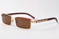 Wholesale vogue brand glasses - 2017 Fashion Brand Gafas Metal Gold Semi Rimless Rectangle Vogue Men Plain Glasses Designer Metal Buffalo Wood Legs Sunglasses