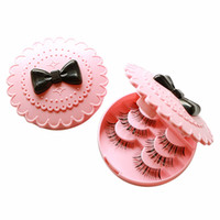 Wholesale Eyelashes Case Box - Wholesale- BSEL Ladies fashion Eco-friendly false eyelas Acrylic Flower Eyelash Storage Box Makeup Cosmetic Mirror Case Organizer