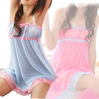 Wholesale Ladies Pink Doll Dress - Women Sexy Lingerie Nightwear Underwear Lady Baby Doll Sleepwear V Neck Dress