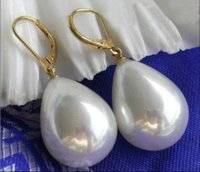 Wholesale Natural Shell Chandelier - Charming Natural White Drip Shell Pearl Earring Dangle 14k