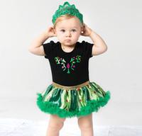 Wholesale Wholesale St Patricks Day - st patricks day baby girls clothes kids cotton romper tutu jumpsuit black + green lace headband toddler summer dress with underwear bodysuit