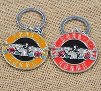 Wholesale R Key Rings - High Quality The Music Band Guns N' Roses G N' R GnR Logo Keychain 5cm Metal Key Chain Ring