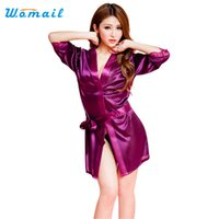 Wholesale Color Silver Lingerie - Wholesale- Amazing Summer Spring Women Bathrobe Sexy Lingerie Sleepwear Nightgown Bath Robes Black Purple Pink White