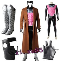 Wholesale X Men Adult Costumes - Newest Original X-Men Gambit Remy Etienne LeBeau Cosplay Costume Custom Made Gambi Adult Any Size Full Suit with Boots