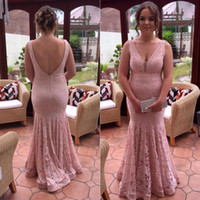 Wholesale Dusky Pink - 2018 Sexy Backless Mermaid Prom Dress Vintage Dusky Pink Lace V Neck Sleeveless Beads Prom Dresses Elegant Floor Length Evening Party Gown